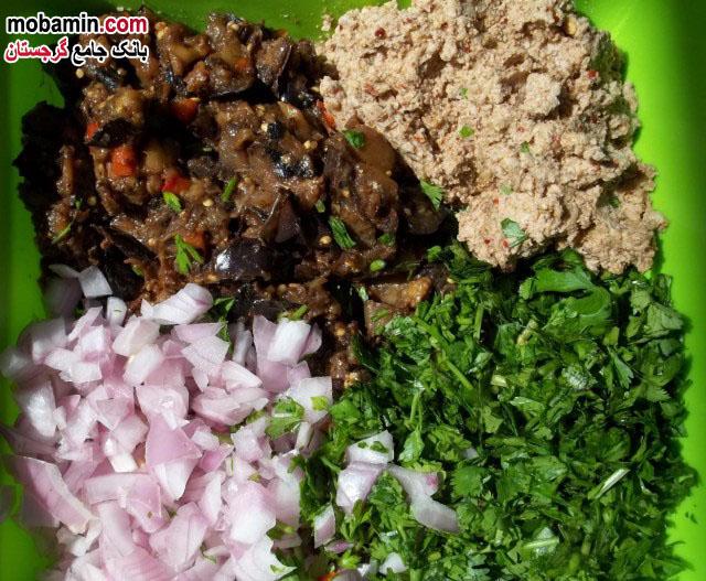 طرز تهیه ی بادمجان به همراه گردو و سبزیجات از غذا های گرجستان