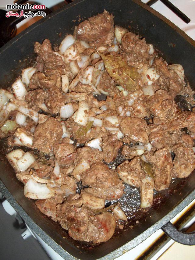 طرز تهیه ی خوراک جگر به همراه نمک سوانتی از غذا های گرجستان