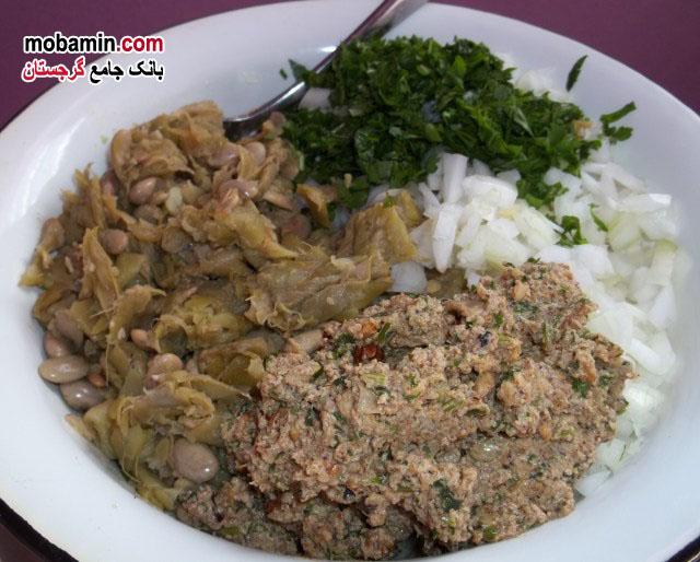 طرز تهیه ی غذا با لوبیای سبز و خشکبار از غذا های گرجستان